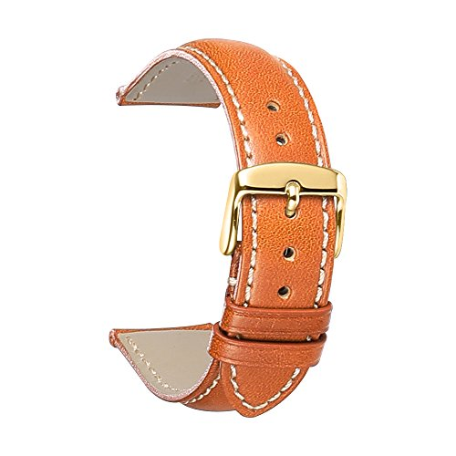 iStrap 20mm Genuine Calfskin Leather Watch Band Strap Steel Gold Buckle Replacement (Calfskin Band Watch)