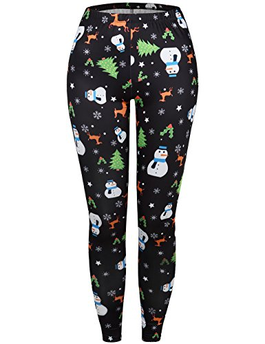 Comfy Tights (SUNGLORY Winter Christmas Tree Snowman Print Funny Costume Tights Black White Snowman XL)