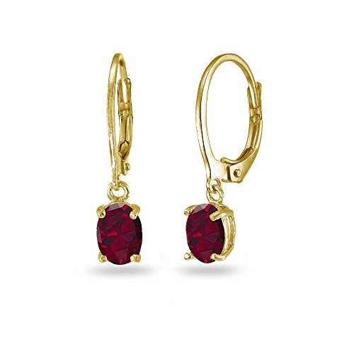 LOVVE Yellow Gold Flashed Sterling Silver Created Ruby 7x5mm Oval Dangle Leverback Earrings