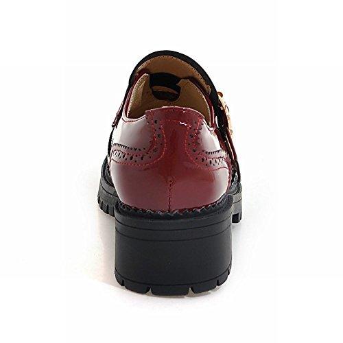 Carolbar Femme Boucle En Cuir Verni Confort Mi-talon Casual Chaussures Vin Rouge