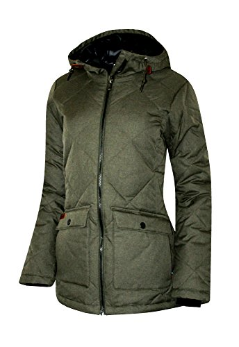 Columbia Women's Crescent Cliff Down Hooded Insulated Jacket Parka (XS, GREEN WASHED) ()