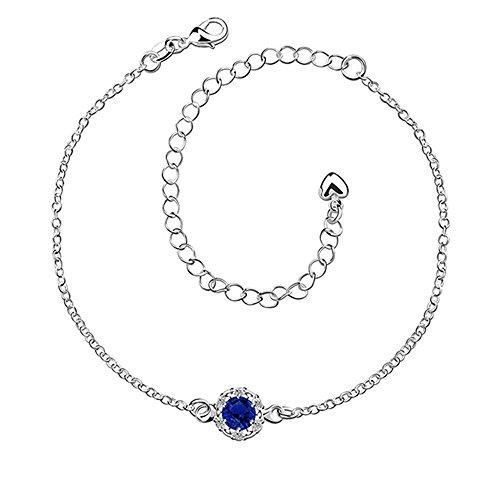 - Elegant 925 Sterling Silver Blue Anklet, Foot Chain