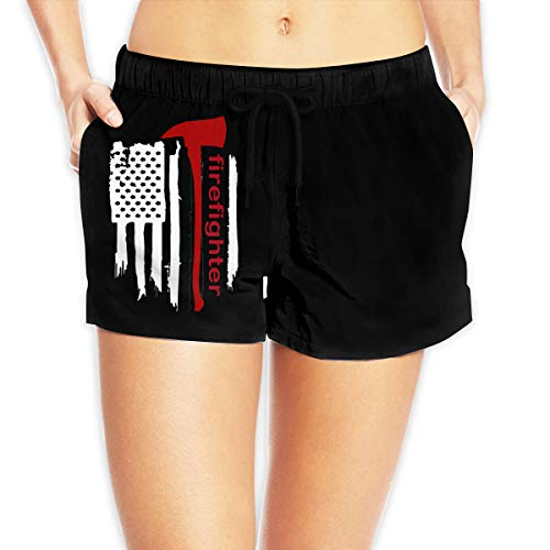 LzVong American Firefighter Women's Female Beach Pants Summer Beachwear Board Shorts White ()