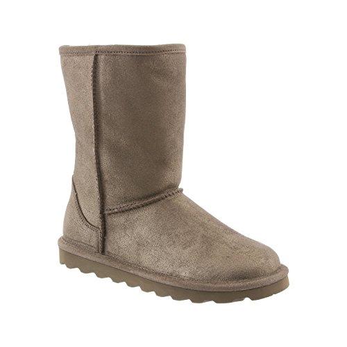 BEARPAW Women's Elle Short Pewter Distressed Sheepskin Fur Lined Winter Boot (8)
