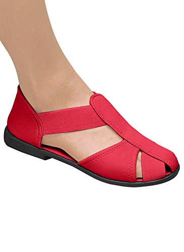 Stretch Comfort Sandals, Red, Size 9 (Extra Wide)