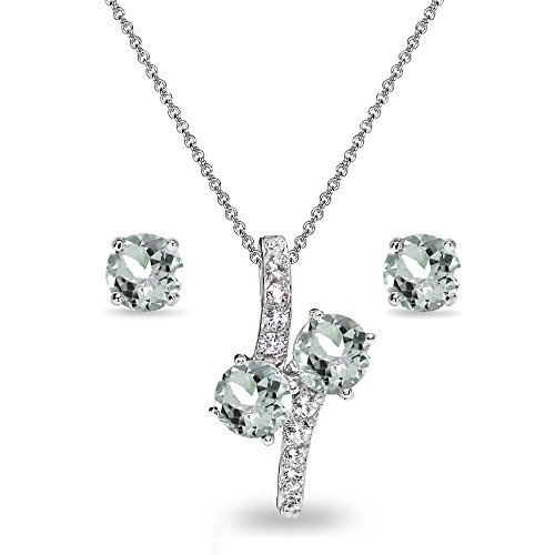 Sterling Silver Light Aquamarine Round Stud Earrings & Friendhip Necklace Set