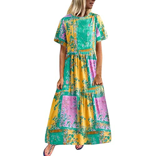 Print Calvin Sandals - Witspace Women Casual Short Sleeve Print O-Neck Summer Cotton Maxi Dress with Pockets Yellow