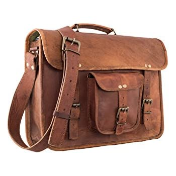 eafb71c380 16 Inch Vintage Leather Messenger Bag Briefcase Fits upto 15.6 Inch Laptop  CYBER MONDAY SALE