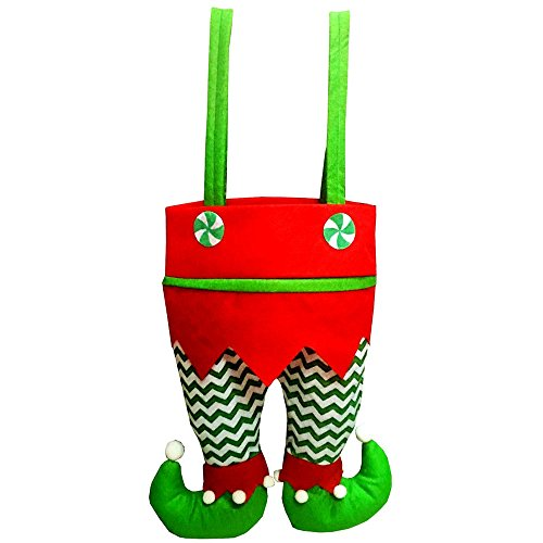 DIB Bags, Xmas Elf Pant Design Red Wine Beer Bottle Cover Candy Cookie Handbags, Hanging Ornaments Gift Treats Sack Stocking Filler for Xmas Tree Party Decorations (Green Waves)