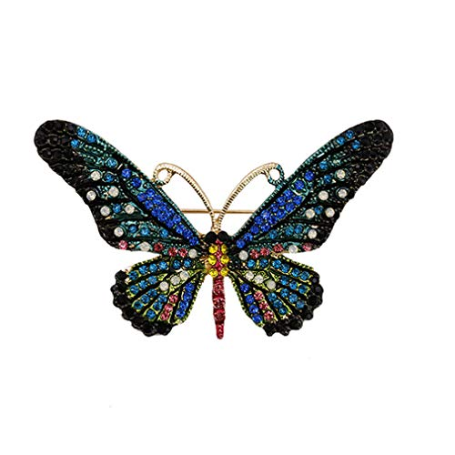 (Yunzee Vintage Crystal Butterfly Brooch Pin Cute Rhinestones Insect Shape Corsage Scarf Clip for Women Girls - 4 Color,Blue,LxW 7.5x4.5cm)