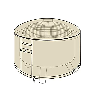 Heavy Duty Weather Resistant Deluxe Outdoor Fire Pit Cover, 2 Ply Polyester, 32 Diam x 18 H - Sand : Garden & Outdoor