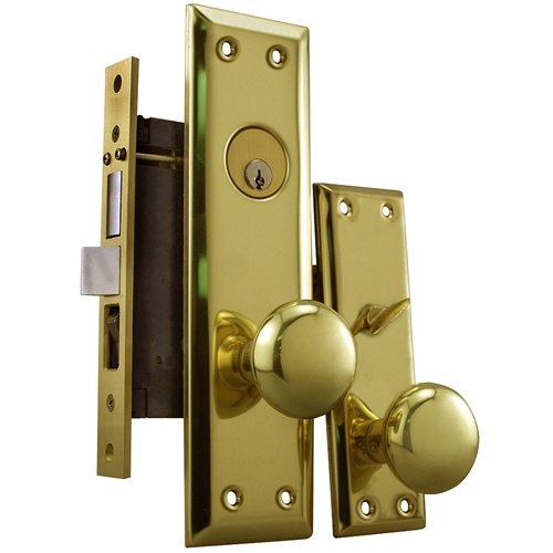 "Maxtech Grade 2 NYC Apartment Entry Mortise Lockset (Like Marks 91A) 2-1-2"" Inch Backset Polish Brass US3 (Right Hand)"