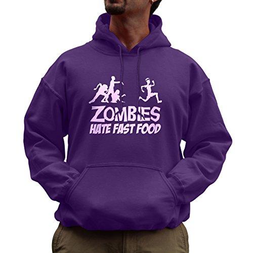 (Nutees Unisex Zombies Hate Fast Food Running Jogging Funny Hoodie Purple)