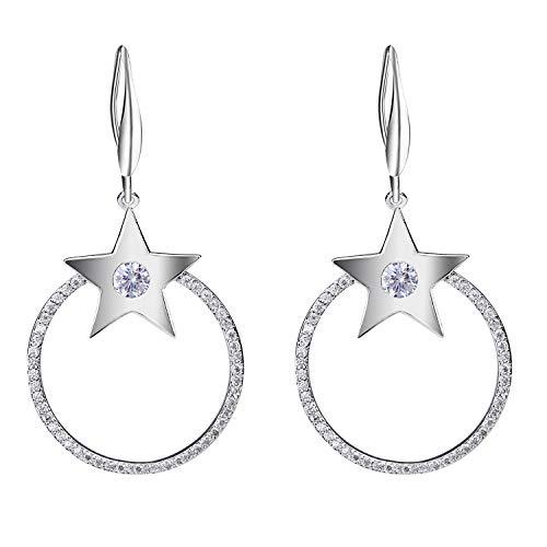 SILVERAL Silver Earrings for Women Crystal Stars and Circle Dangle Earrings Hook Earrings (Circle Stars Silver)