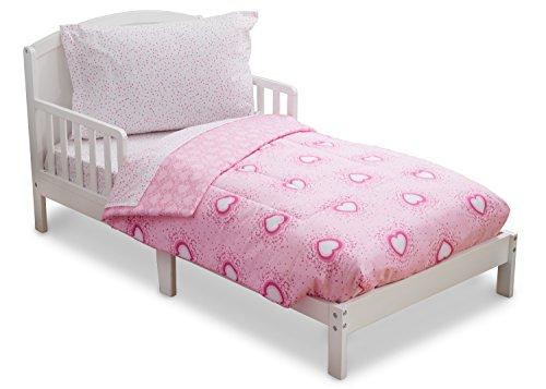 Delta Children Reversible Girls Toddler 4 Piece Bedding Set (Fitted Sheet, Flat Top Sheet w/ Elastic bottom, Fitted Comforter w/ Elastic bottom, Standard Pillowcase) Girls Hearts & Sprinkles | Pink