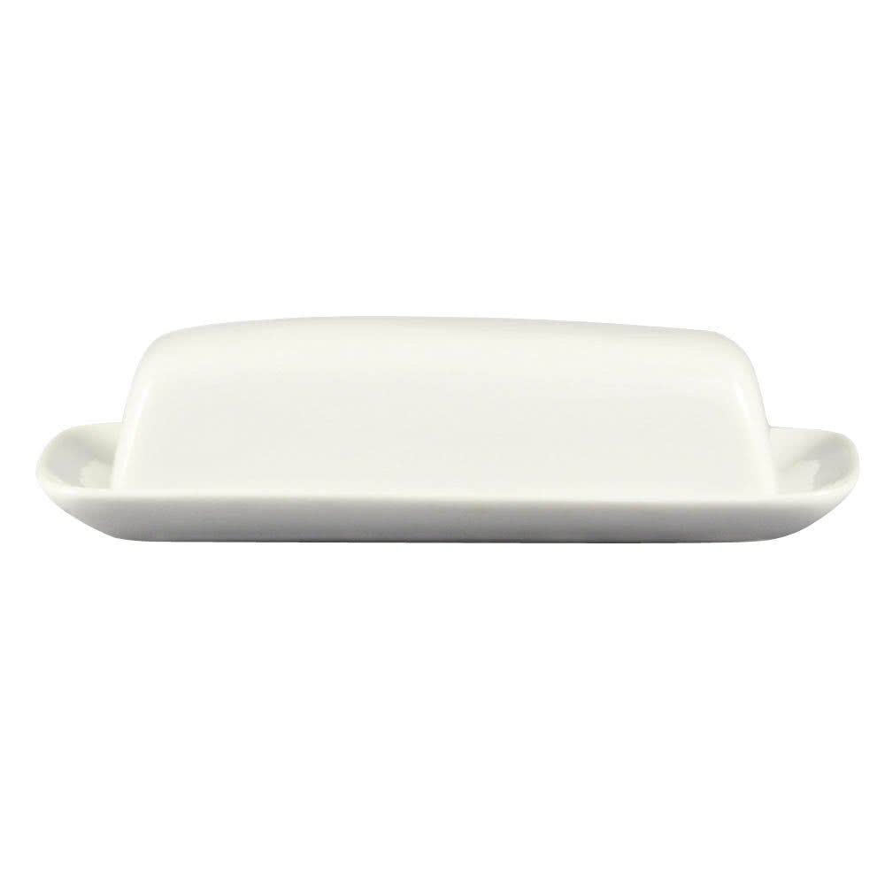 CAC BTD-8 White Porcelain Butter Dish with Cover 8 1/4'' x 4 1/4'' - 12/Case