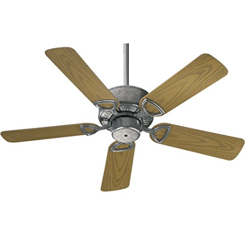 Quorum International 143425-9 Estate Patio Ceiling Fan with Medium Oak ABS Blades, 42-Inch, Galvanized Finish
