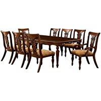 Furniture of America Voltaire 9-Piece Formal Dining Table Set with 18-Inch Expandable Leaf, Dark Oak Finish