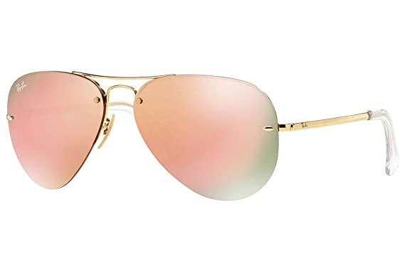 203510df1db5 Image Unavailable. Image not available for. Color  Ray Ban RB3449 001 2Y 59  Gold Copper Mirror Aviator Sunglasses ...