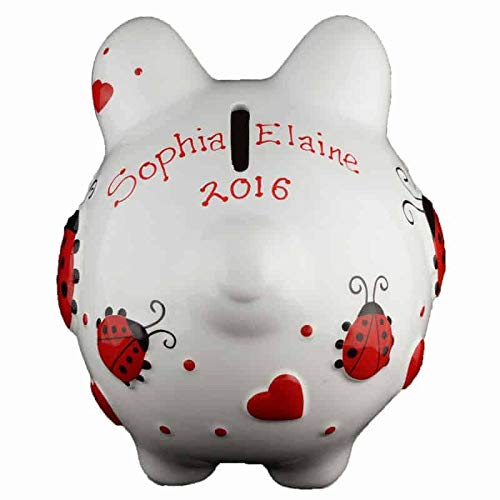 Red Ladybug Girls Piggy Bank - Small - (Personalized & Custom With Name And Year) (First Financial Toy For Teaching Boys & Girls About Saving Money) (Perfect Unique Gift Idea For Babys 1st Birthday)