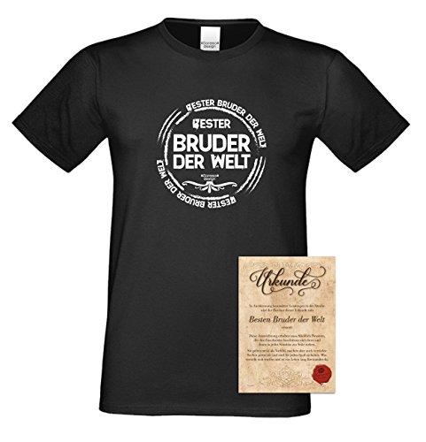 Bruder Geschenkeset Fun-T-shirt zu Weihnachten oder zum Geburtstag mit GRATIS Urkunde - Bester Bruder der Welt Farbe: schwarz Gr: 3XL