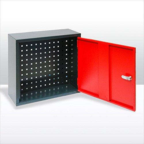 ADB Werkstattschrank | Schlüsselschrank | Hängeschrank mit Lochblech 1trg. für Werkstatt anthrazit / rot