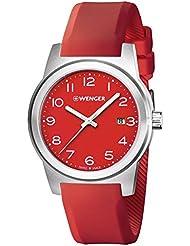 Wenger Field Swiss Mens Analog Round Watch Red Rubber Strap 01.0441.142