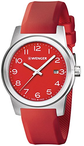Wenger Field Swiss Men's Analog Round Watch Red Rubber Strap 01.0441.142