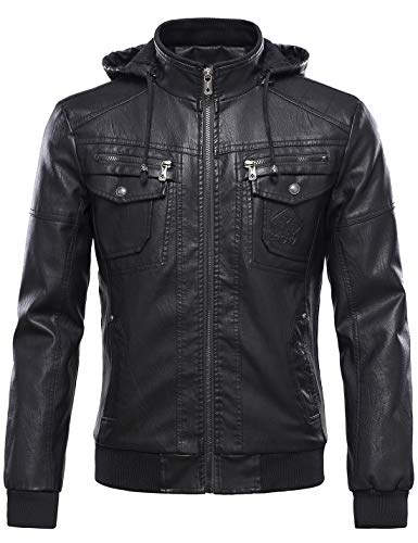 Tanming Men's Pu Leather Jacket with Removable Fur Hood (Large, Black)