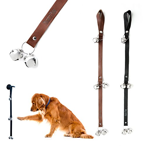 Mighty Paw LEATHER Tinkle Bells, Premium Leather Dog Doorbells, Extra Soft Leather with Durable Jingle Bells, Housetraining Doggy Door Bells for Potty Training, Free Hook (Brown) (Bell Door Jingle)