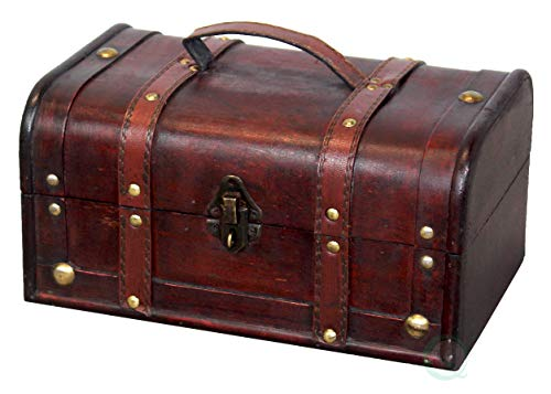 Vintiquewise(TM) Decorative Treasure Box - Wooden Trunk Chest -