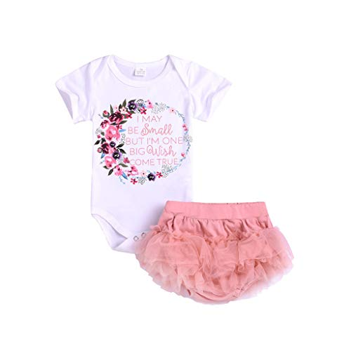 (Nargar Baby Girls Short Sleeve Romper - Cute Infant Baby Wreath Letter Printed Jumpsuit & Mesh Tutu Short - Newborn Baby Outerwear Bodysuit Outfits 6 Months-3)