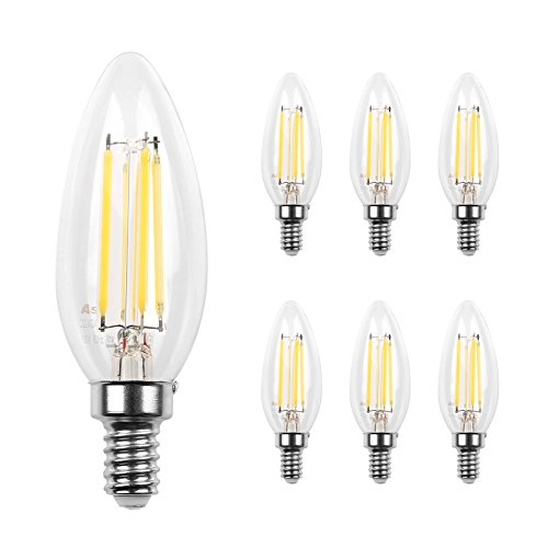 Ascher E12 LED Classic Candelabra Clear Light Bulb / 4W, Equivalent 40W, 420LM / Daylight White 5000K / Filament Clear Glass / Non dimmable / Pack of 6
