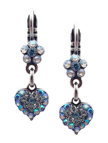 Mariana Italian Ice Swarovski Crystal Silvertone Earrings Dainty Blue Clear Mix Flower & Heart Dangle 141 (Flower Swarovski Ice)