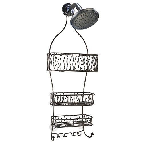 InterDesign Squiggle Hanging Shower Caddy - Bathroom Storage Shelves for Shampoo, Conditioner and Soap, Bronze