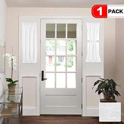 H.VERSAILTEX Rich Linen Natural Blended Door Curtain Panel, Home Decorative French Door Curtains, Rod Pocket Top, Single Panel, 25 x 40 - White