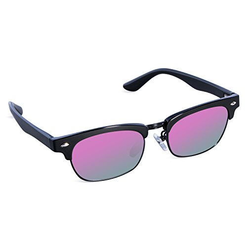 SEEKWAY Kid's Polarized Sunglasses Metal Frame Children Age 3-10 SKM3020 (Mirrored Lens Available) (Black, Purple Mirrored (Cheap Coloured Contact Lenses)