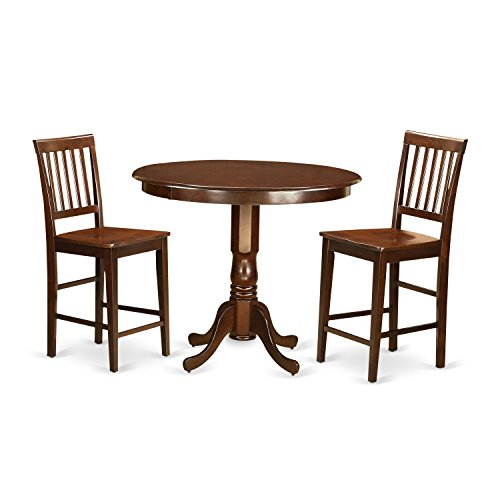 East West Furniture TRVN3-MAH-W 3 Piece Counter Height Table and 2 Bar Stools with Backs Set