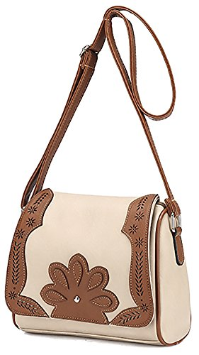 Women's Hollow Belt Front Hobo PU Bag Bag Messenger Bag Shoulder White Crossbody r7RU5rwSaq