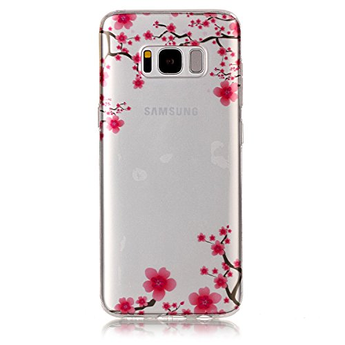 Flowers Coupe Cereal Bowl - Jewby Galaxy S8 Case Soft, High-clear Cute Pattern Case for Samsung Galaxy S8 with a Free Screen Protector (Pink flower)