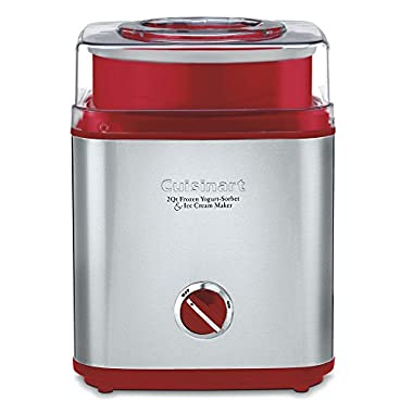 Cuisinart ICE-30R Pure Indulgence Frozen Yogurt Sorbet & Ice Cream Maker, 2 quart, Brushed Metal/Red