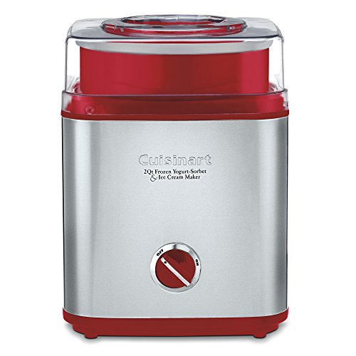 (Cuisinart ICE-30R Pure Indulgence Frozen Yogurt Sorbet & Ice Cream Maker, 2 quart, Brushed Metal/Red)