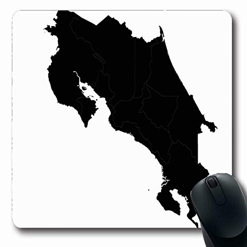 Ahawoso Mousepads for Computers On Blue Map Mapcosta Rica Country Costa City Red Abstract America American Black Border Design Oblong Shape 7.9 x 9.5 Inches Non-Slip Oblong Gaming Mouse Pad