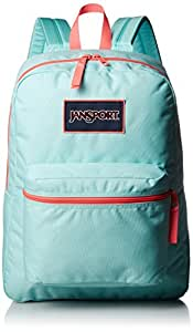 JanSport Overexposed Backpack (AQUA DASH/FLUORESCENT RED)