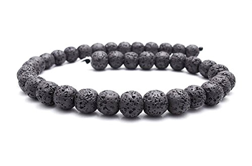 Smooth Lava Stone Loose Beads - Coloured Round Lava Rock Beads Volcanic Gemstone for DIY Handmade Jewelry Making Beaded Necklace Bracelet (Black, 8mm)