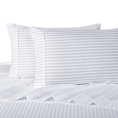 Stripe White Split-King: Adjustable King Bed Size Sheets, 5PC Bed Sheet Set, 100% Cotton, 300 Thread Count, Sateen Striped, Deep Pocket, by Royal Hotel