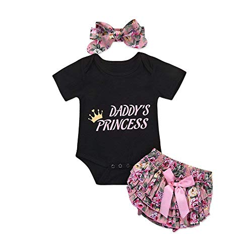 (Infant Child Toddler Newborn Baby Girls Layette Set Print Romper+Plaid Pants+Hat Headband Outfits Set (Black+Pink, 6-12)