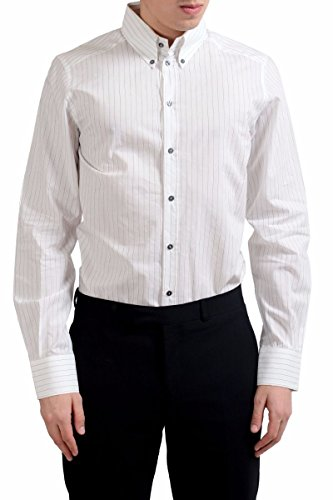 Dolce & Gabbana Gold Men's Long Sleeve Striped Dress Shirt Size US 15.75 IT 40