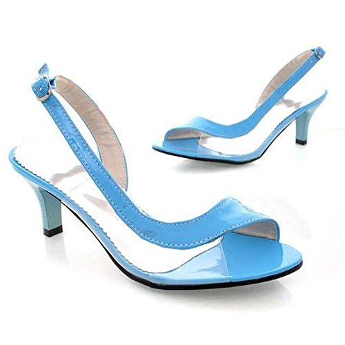 Extra Coolcept Peep Transparent Blue Toe Sandals Sizes Shoes Backstrap Heel 7 Women Colors Kitten 1fnrqSwx1z