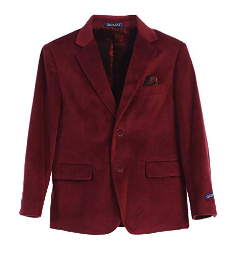 Gioberti Big Boys Formal Velvet Blazer with Solid Buttons, Burgundy B, Size ()